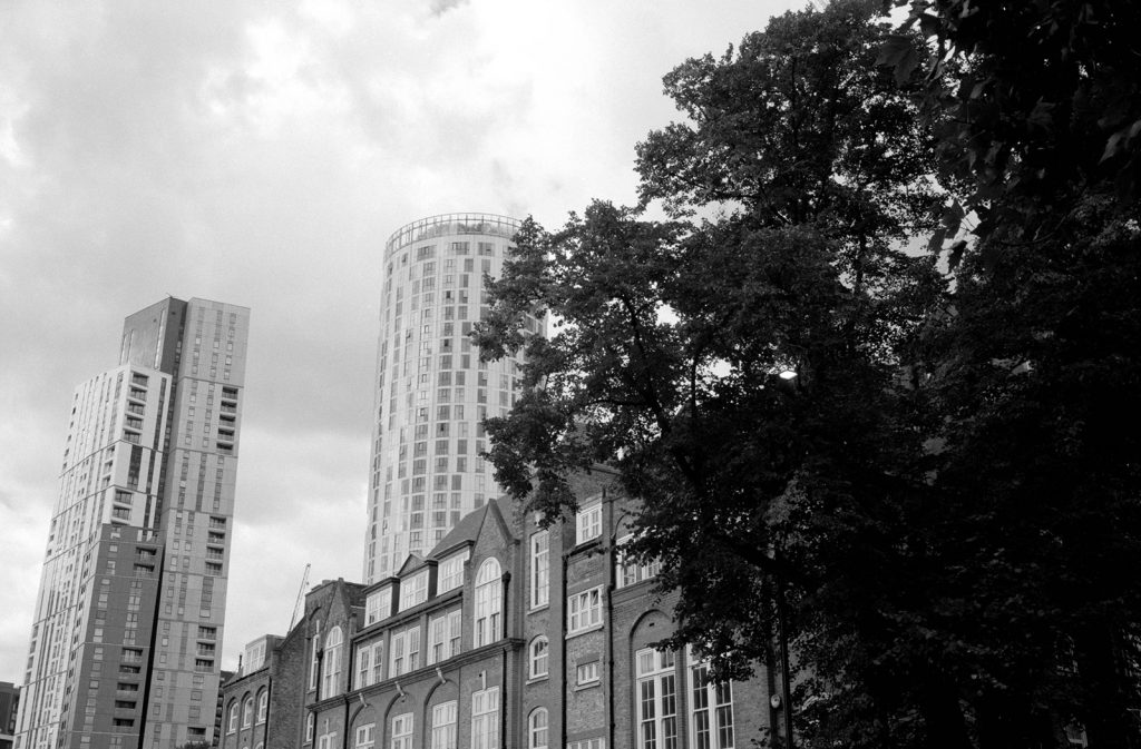 Fuji Acros II 35mm Contax G2 Vauxhall Buildings and tree