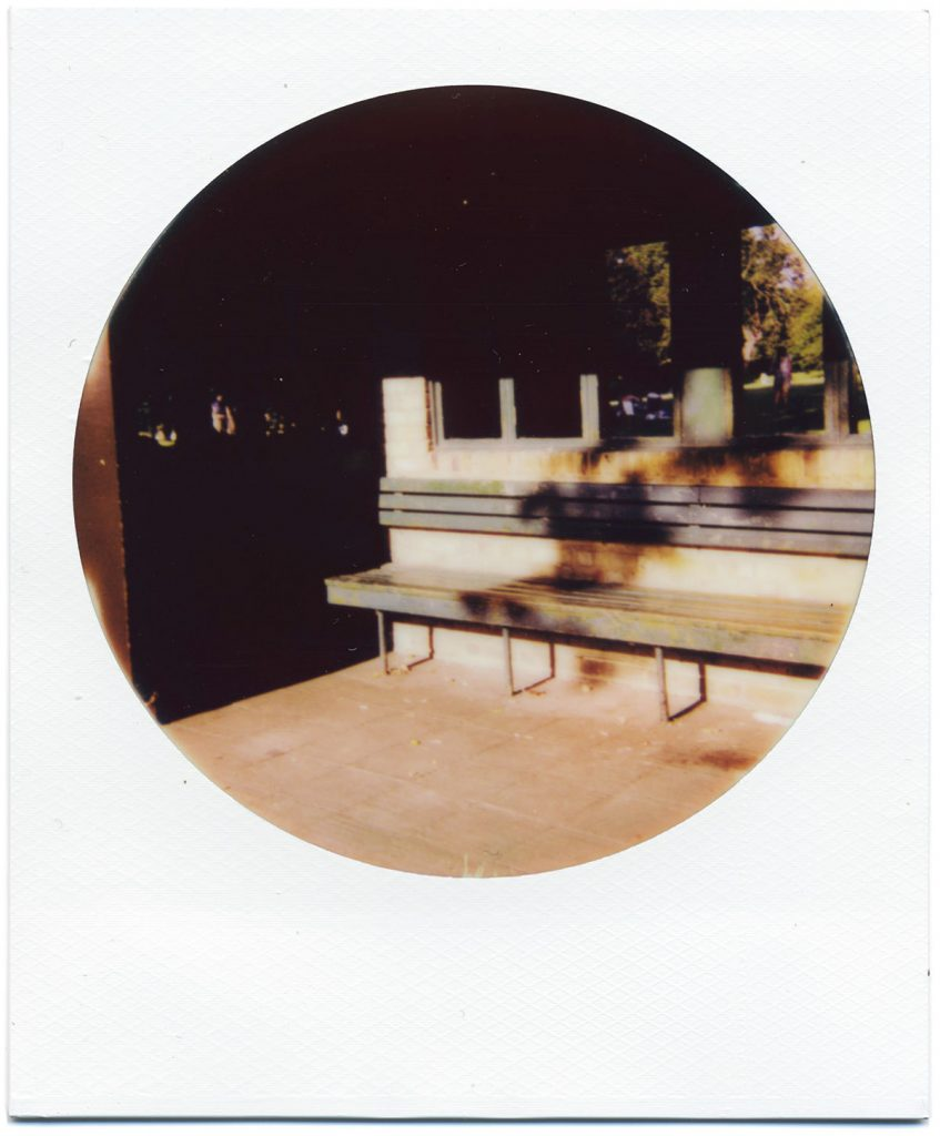 Bench in sunlight on Polaroid 600 instant film.