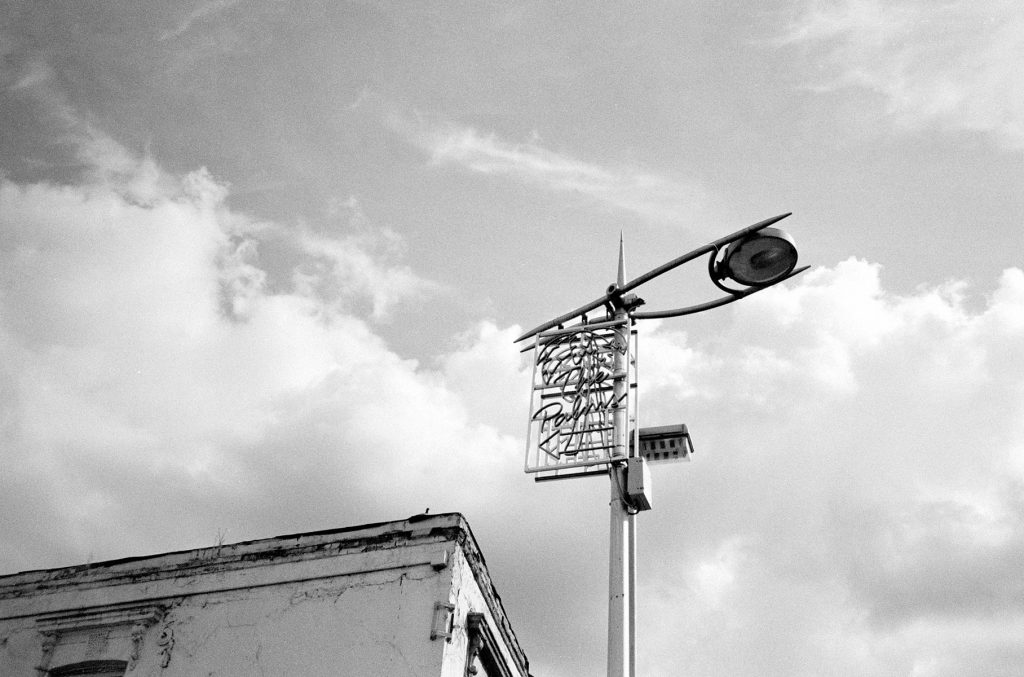 Lamp Post Clouds Peckham shot on black and white film.